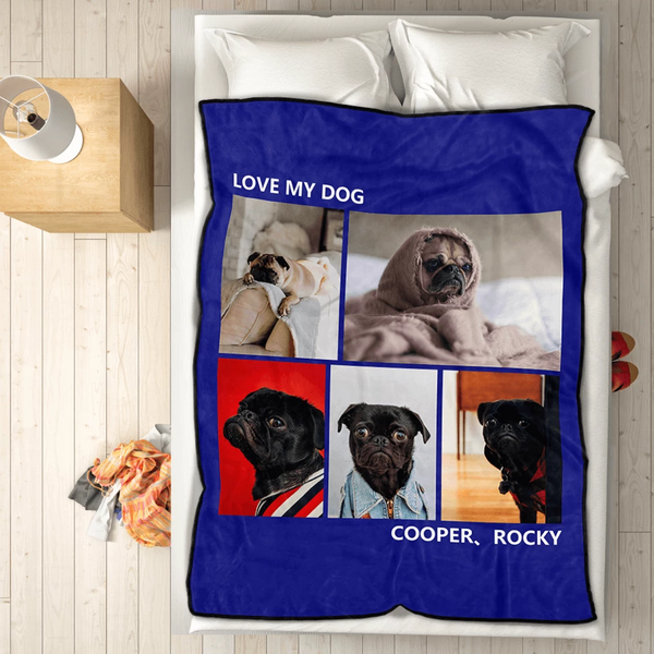 pets personalized with 5 photos fleece custom blanket