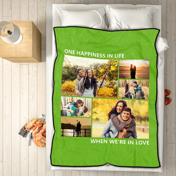 Family Personalized Love with 6 Photos Fleece Custom Blanket