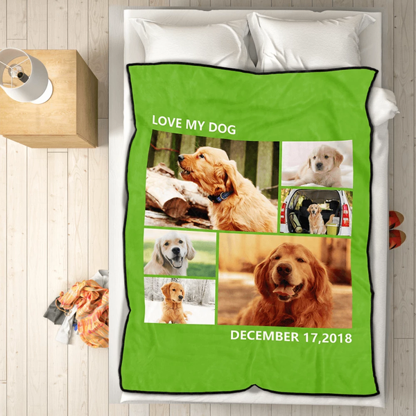 Personalized Pet Lovers with 6 Photos Fleece Custom Blanket