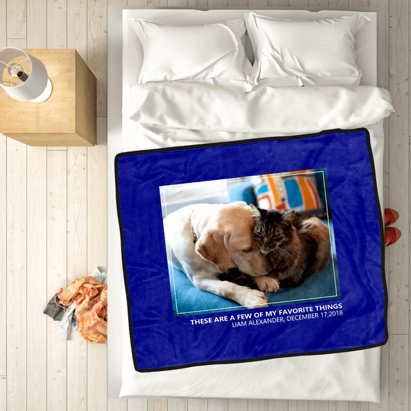 personalized pets with 1 photo fleece custom blanket