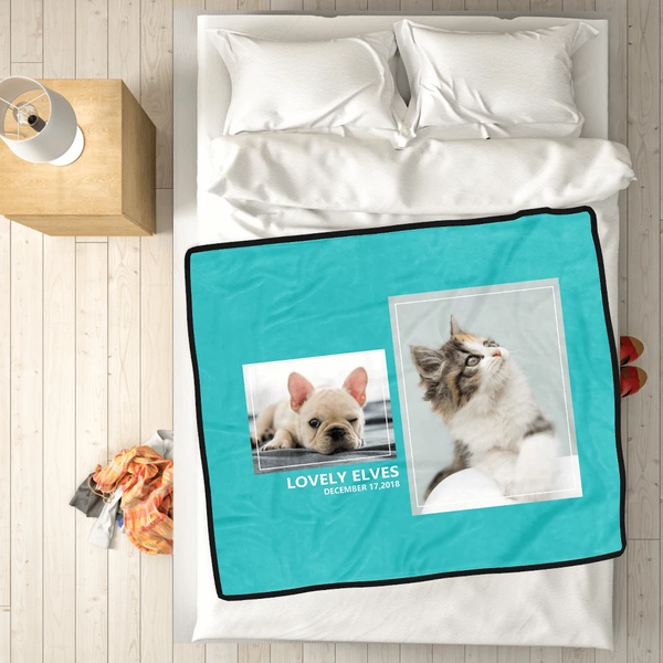 Personalized Pets with 2 Photos Fleece Custom Blanket