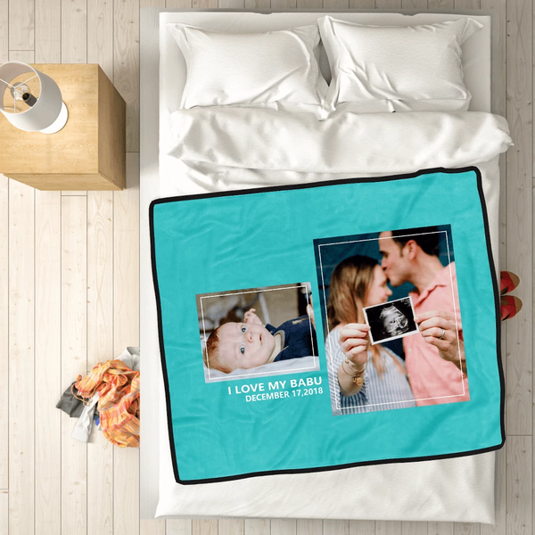 personalized family with 2 photos fleece custom blanket