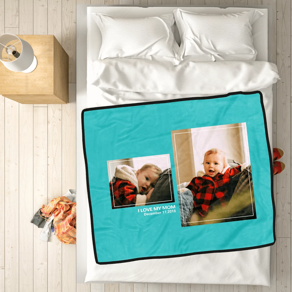 Personalized Kids with 2 Photos Fleece Custom Blanket