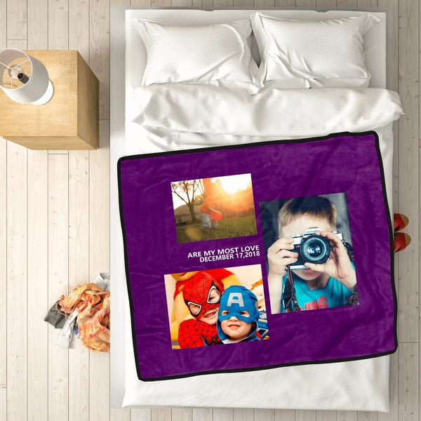personalized kids with 3 photos fleece custom blanket