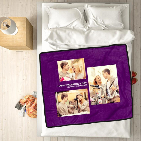 personalized perfect love with 3 photos fleece custom blanket