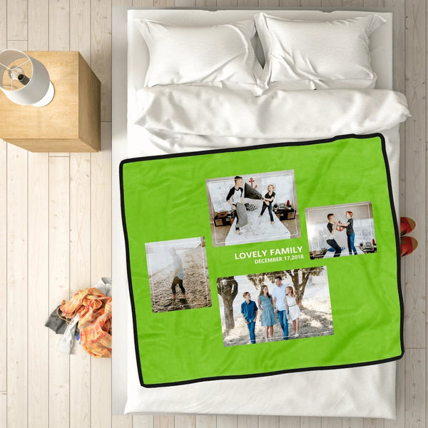 Personalized Family Love with 4 Photos Custom Fleece Custom Blanket