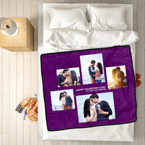 Personalized Happy Family with 5 Photos Fleece Custom Blanket