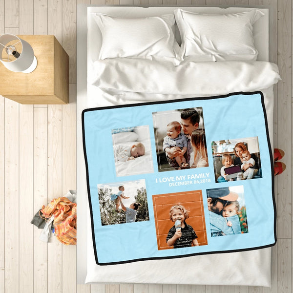 Personalized Family Love with 6 Photos Fleece Custom Blanket