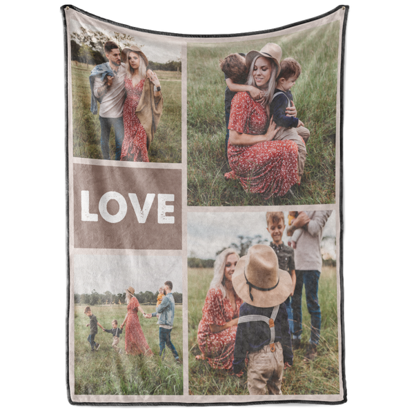 Personalized Love&Family with 4 Photos Custom Blanket