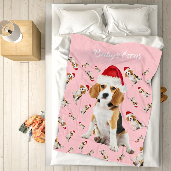 Custom Blanket Personalized Christmas Fleece Blanket Pet Gift