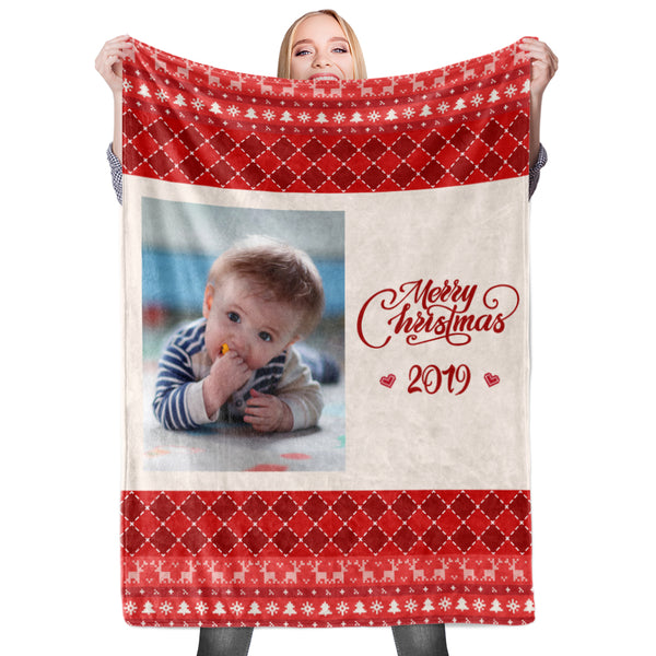 Custom Christmas Photo Fleece Blanket Baby