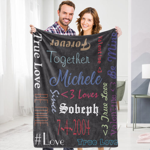 Personalized Custom Blanket Valentine's Fleece Blanket Happy True Love Together