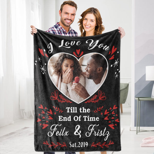 Personalized Custom Blanket Valentine's Blanket I Love You To The Moon And Back Wife Husband Fleece Blanket