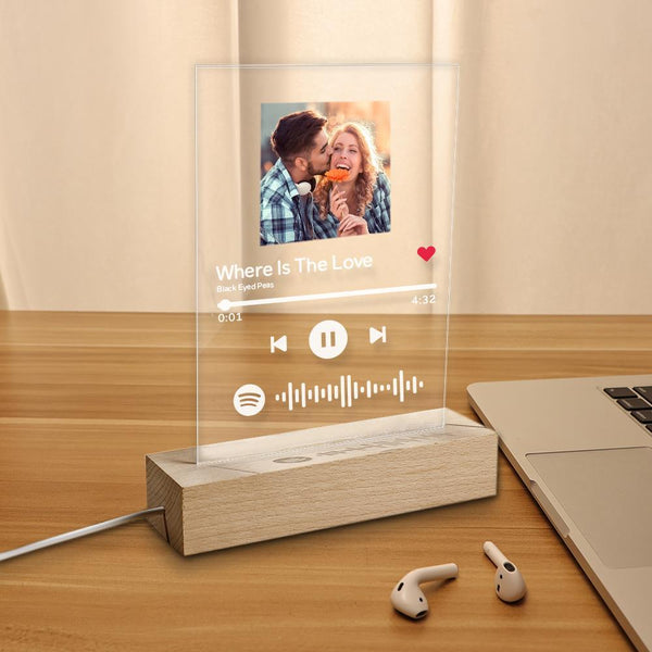 Best Gift Custom Spotify Code Music Plaque Glass Lamp(5.9in x 7.7in)