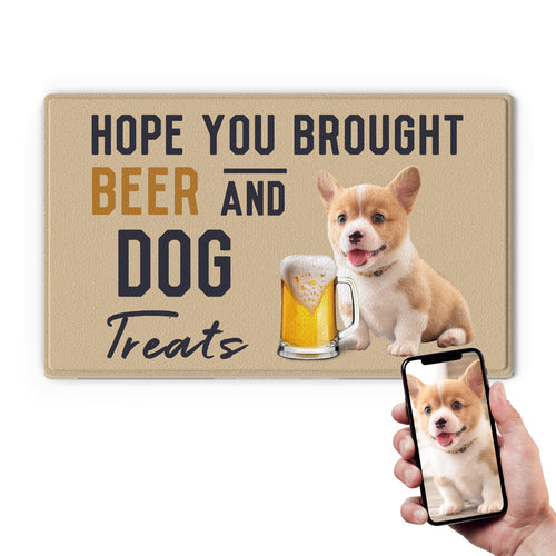 US Custom Funny Doormat-Drink A Beer With Your Dog's Photo