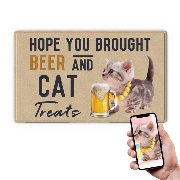 Custom Funny Door Mat-Drink A Beer Doormat With Your Cat's Photo