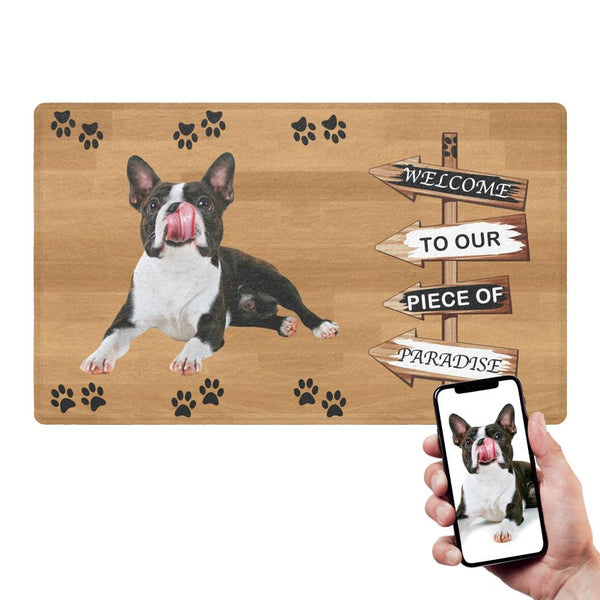 Custom Funny Doormat-Road Sign Door Mat With Your Pet's Photo