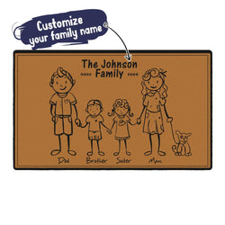 Custom Family Name Rug-lovely Family of 5 Doormat