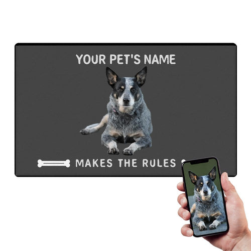 Custom Funny Door Mat Pet Doormat Your Pet Makes The Rules With Your Pet's Photo And Name
