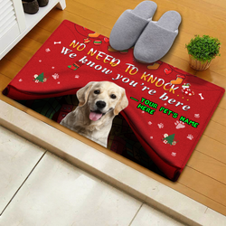 US Custom Christmas Funny Door Mat With Pet's Photo And Name