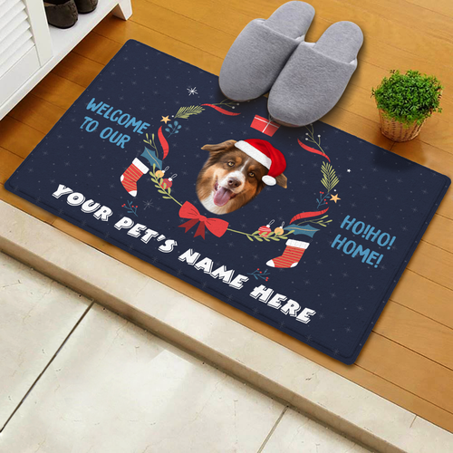 US Personalized Christmas Doormat With Your Pet's Photo And Name