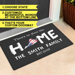 Custom State Of Love Rug-Personalized State Map And Text Door Mat