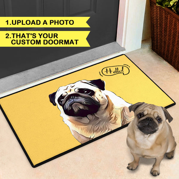 Custom Painted Art Portrait Colorful Rug With Your Pet's Photo Indoor & Outdoor Door Mat