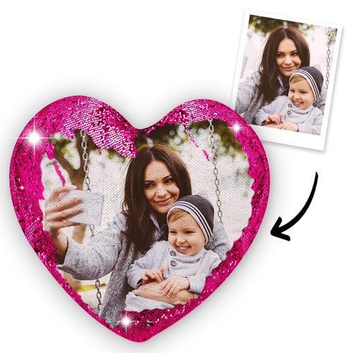 Personalized Photo Heart Magic Sequin Cushions Pillow