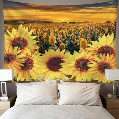 Sunset Sunflower Field Tapestry, Floral Plant Tapestry, Wall Decor Hanging Tapestry