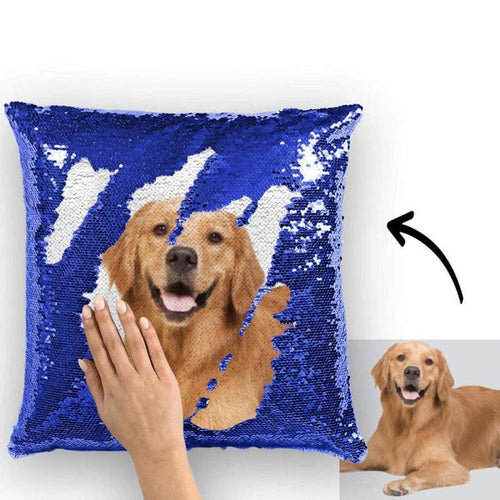 Photo Magic Sequins Pillow Blue Sequin Cushion 15.75inch * 15.75inch