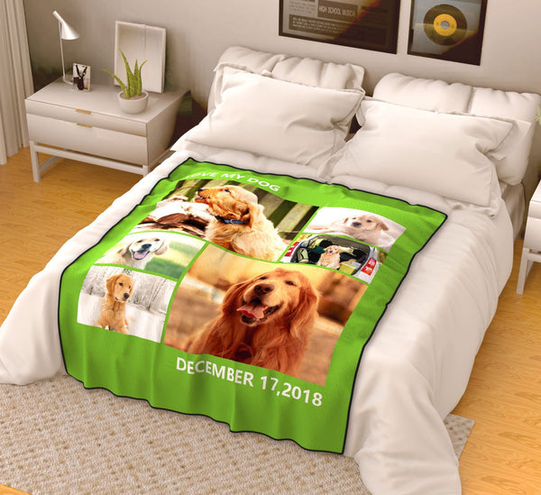 personalized love with 6 photos fleece custom blanket