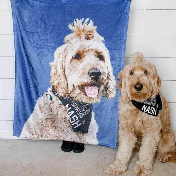 US Personalized Fleece Blanket Painted Art With Your Pet's Photo & Name