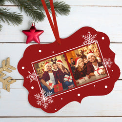 Custom photo Christmas Metal Ornament with 2 photos With Your Text