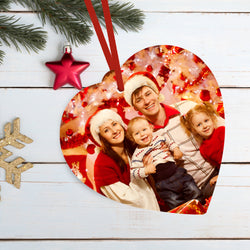 Custom photo heart-shaped Christmas metal ornaments With Your Text