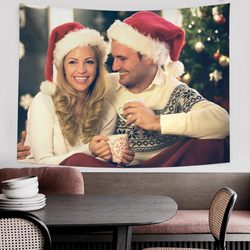 Custom Christmas Party Decoration Photo Tapestry Wall Decor Hanging Painting