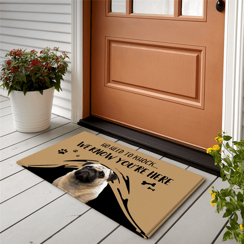 Custom Funny Doormat No Need To Knock Door Mat -With Your Pet's Photo