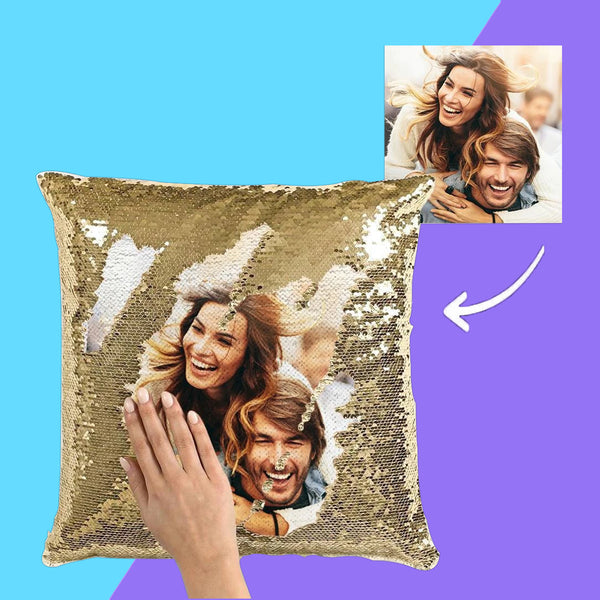 US Custom Couple Photo Magic Sequins Pillow Multicolor Sequin Cushion 15.75inch*15.75inch