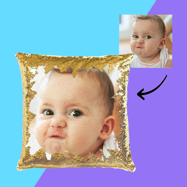 US Personalized Cute Baby Photo Magic Sequins Pillow Multicolor Sequin Cushion 15.75inch*15.75inch