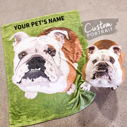 US Personalized Fleece Blanket Painted Art With Your Pet's Name & Photo