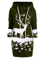 Women Spring Autumn Overhead Christmas Print Long Hoodie Plus Size Hoodies & Sweatshirts