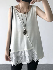 Sleeveless Summer Cotton Lace Stitching Tank Tops