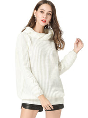 Women Daily Casual Overhead Autumn Casual High Neck Sweater Plus Size Sweaters & Cardigans