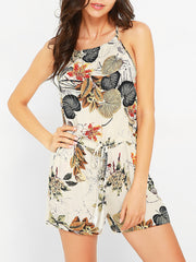 Jumpsuits & Rompers Summer Sleeveless Leaves Print Backless Cross Strap Daily Casual Printed Wom