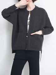 Women Autumn O-neck Winter Casual Solid Zipper Long Sleeve Daily Casual Cardigan Plus Size Sweaters