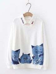 Women Winter Autumn Overhead Print Fake Two-Piece Sweatshirt Plus Size Hoodies & Sweatshirts
