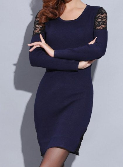 Knitted Long Sleeve Dress with Lace