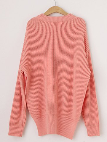 Round Neck Long Sleeve High Furcal Sweater For Women