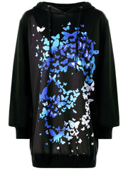 Drawstring 3D Butterfly Print Tunic Halloween Hoodie