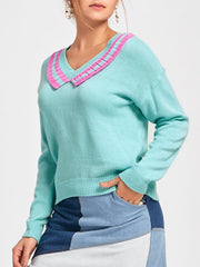 Contrast Flounce Trimmed V Neck Sweater