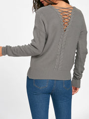 Back Lace Up Cable Knitted Sweater